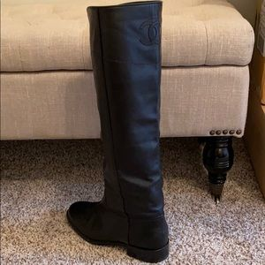 Black Chanel riding boots